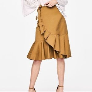 Who What Wear Khaki Ruffled Wrap Skirt w/ Tie